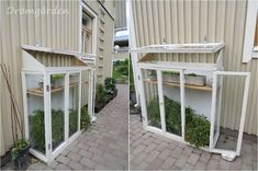 Greenhouse from old windows Outdoor Plants, Outdoor Spaces, Outdoor Gardens, Outdoor Living, Small Greenhouse, Cold Frame, Old Windows, Garden Structures, Cool Landscapes
