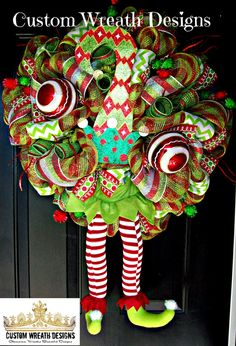 Merry Christmas Elf Hat Mesh Wreath with HoHoHo by lilmaddydesigns Christmas Door Wreaths, Christmas Door Decorations, Christmas Arrangements, Christmas Tree Toppers, Holiday Wreaths, Holiday Crafts, Holiday Ideas, Merry Christmas, Whimsical Christmas