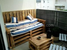 Several pallets with little modifications, stain or varnish, and here is my balcony terrasse furniture !