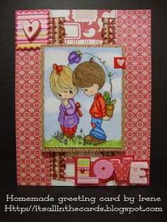 Valentine's Day card with a Precious Moments coloring page (colored with Prismacolor pencils)
