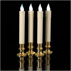 """Set of Four Ivory """"Timer"""" Tapers; Real Brass Holders, Non-Flickering Bright White LEDs.: String Lights and Party Lights Battery Candles, Taper Candles, Mr Light, Window Candles, Party Lights, Candle Making, String Lights, Seasonal Decor, Ivory"""