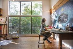 Step inside artist Rebecca Rebouche's rustic home studio in the Covington woods Home Studio, My Art Studio, Painting Studio, Studio Spaces, Studio Table, Studio Design, Studio Ideas, Atelier Home, Inhale Exhale
