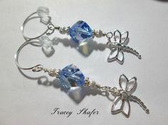 Sterling silver Dragonfly & Swarovski earrings