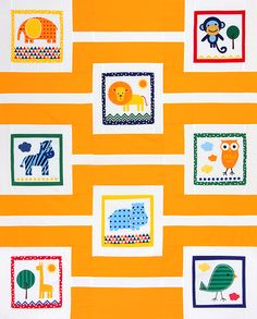 A Day at the Zoo is a free quilt pattern from Robert Kaufman Fabrics. Designed by Chicken Julie, the quilt uses the Urban Zoologie panel from Lawson Boyd / Ann Kelle and Kona Cotton solids to create a fun throw quilt. Finished size: x Strip Quilts, Panel Quilts, Quilt Blocks, Baby Sewing Projects, Quilting Projects, Quilting Designs, Quilting Ideas, Quilt Patterns Free, Free Pattern