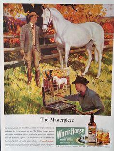 Horse Whiskey Advertisement - White Horse, Whiskey Ad, Paper Ephemera ...