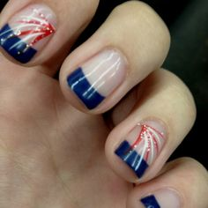Firework French Tip Nails