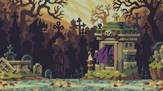 Backgrounds by Stephane Boutin for single screen brawler Curses N Chaos (PC, PS4, PS Vita). More info and GIFs about the game here.
