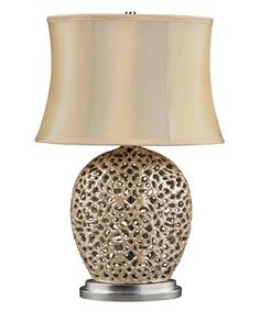 The Openwork Ceramic Base Of This Lovely Table Lamp Adds Elegant Eal To Your Home While A Cinched Faux Silk Shade Offers Chic Finishing Touch