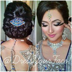 Bollywood hair and makeup Bollywood Hairstyles, Indian Bridal Hairstyles, Wedding Hairstyles, Asian Hair And Makeup, Hair Makeup, Indian Bridal Makeup, Wedding Hair And Makeup, School Looks, Bollywood Makeup
