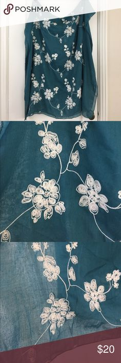 """Teal lightweight embroidered floral scarf wrap Gorgeous teal turquoise scarf/shawl! Embroidered with light cream colored flowers. Serged edges. Beautiful color, you will love it. Thin cotton/poly gauze fabric, lightweight and great for spring/summer. Casual wrinkled look to it, though you could iron it if you wanted. Roughly 30""""x70"""". Other colors available in my closet! Smoke free, pet free, fragrance free home. New and unused, no tags or packaging. Accessories Scarves & Wraps"""