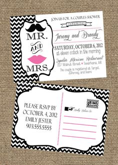 5x7 Couples Wedding Shower Invitation Postcard Don't particularly care for the design but shower/open house invite ideas