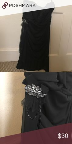 Dress Strapless Formal black dress with embellishment on side Ruby Rox Dresses Prom