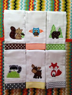 Forest Animals Burp Cloths - Raccoon, Bear, Moose, Owl, Squirrel, & Fox - for baby boy or baby girl. Perfect for animal themed nursery! by LittleRedsMonograms on Etsy