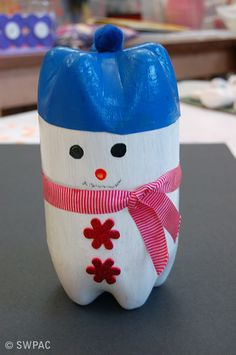 recycled art - plastic bottle snowman