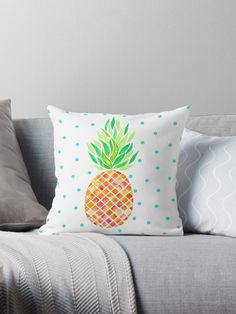 Watercolor pineapple design • Also buy this artwork on home decor, apparel, stickers, and more.Watercolor Pineapple design @redbubble #pineapple #watercolor #tangerine #illustration #pineappleart #redbubble  #pillow