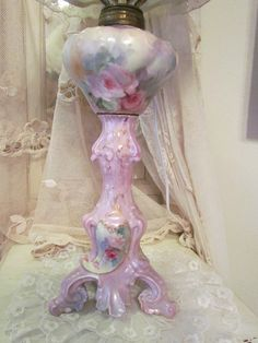 Antique Hand Painted Limoges Pink Roses Lamp