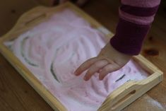 Coloured salt trays for sensory pre-writing activities by The Imagination Tree Preschool Color Activities, Preschool Science, Creative Activities, Creative Play, Sensory Activities, Kindergarten Activities, Writing Activities, Preschool Ideas, Sensory Bins