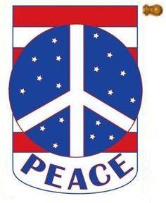 Peace Red White Blue Applique Patriotic Flag