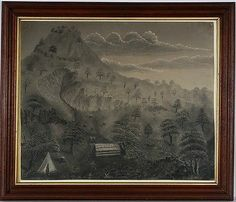 Super 19th Century Marble Dust Drawing ,Mountain Landscape w Teepee ,Adirondack .