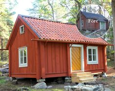 Torpet Dalängen i version nr 3 Swedish Cottage, Red Cottage, Cottage In The Woods, Cozy Cottage, Container House Design, Tiny House Design, Building A Small House, Tiny Log Cabins, Sweden House