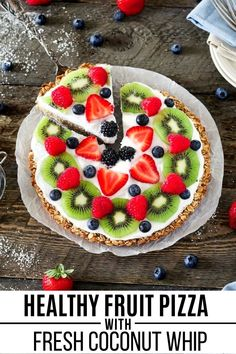 This quick and easy healthy Fruit Pizza recipe  has three layers of pure deliciousness: baked oatmeal crust, homemade coconut whipped cream and fresh fruits! It's a great way to start your day and will power you up until lunchtime! #veganhuggs #fruitpizza #veganbreakfast