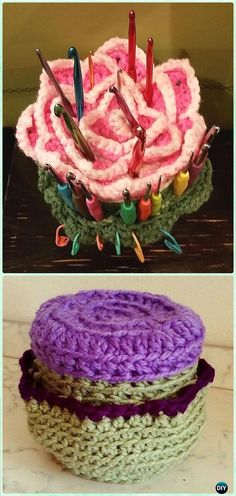 Crochet Rose hook Holder Free Pattern - DIY Gift Ideas for Crocheters #Crochet