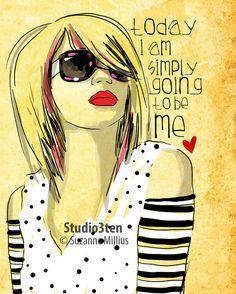 Simply Me / original illustration ART Print Hand SIGNED size 8 x 10