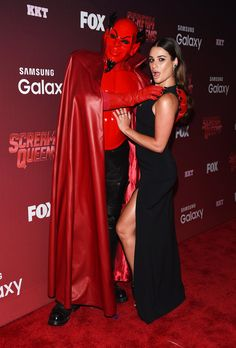 Lea Michele joked around on the Scream Queens red carpet with the Red Devil