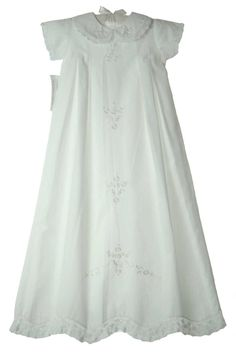 NEW Fantaisie Kids White Cotton Embroidered Christening Gown with Crocheted Lace Trim $140.00