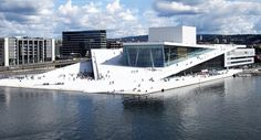 Opera House, Oslo, Norway  The city is a wonderful mix of modern and old. Our ship docked right next to a medieval castle and just a few miles away is this ultra modern opera house.