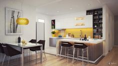 Mellow Yellow: 7 Soothing Apartments with Sunny Accents Contemporary Kitchen Design, Interior Design Kitchen, Kitchen Dinning Room, Kitchen Decor, Classic Kitchen, Cuisines Design, Mellow Yellow, Home Kitchens, Layout