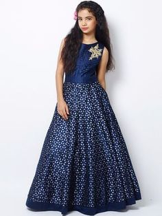 Shop Exclusive navy silk party wear gown online from India. Frock Fashion, Girl Fashion, Classy Fashion, Party Fashion, Fashion Dresses, Gowns For Girls, Little Girl Dresses, Girls Dresses, Party Wear Gowns Online