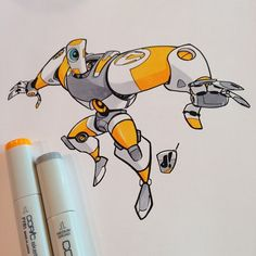#marchofrobots 15-014 'Robo Sports League - Team Omega' A little late lunch #copic colouring session. @Wacom @astutegraphics @lazynezumipro #creativelife