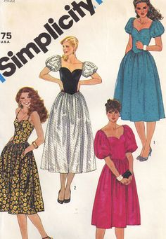 Simplicity pattern for 80's style dress with puffy sleeves