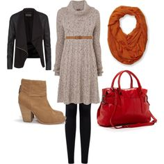 clothing for those cold days in fall and winter. leather jacket, cable sweater dress, boots, red purse, orange scarf, belt keep warm during cold season