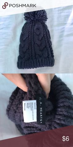 Navy blue beanie Cute floppy beanie. Perfect for fall or winter! It's a navy blue color, and has a Pom Pom on the end. Super fashionable! (Tumblr, hipster, indie, warm, cozy, autumn, knit, cable knit, love, fashion) PacSun Accessories Hats