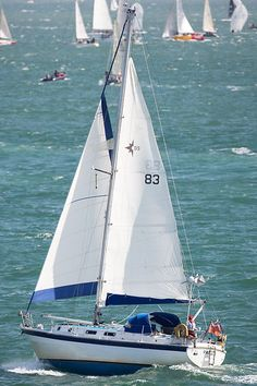 The Westerly Discus 33 yacht 'Panda' sailing in the Solent.