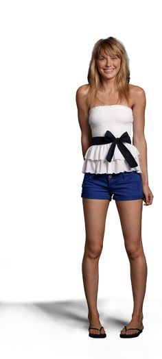 Love this entire Hollister outfit.  especially this ruffled tie-waist tube top!