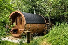 Outdoor Sauna, Outdoor Decor, Barrel Sauna, Traditional Saunas, Health Retreat, Tiny House Cabin, Outdoor Landscaping, Cabins In The Woods, Outdoor Areas