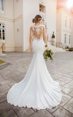 Modest Wedding Dresses Vintage 6895 Lace and Chiffon Beach Wedding Dress with Illusion Bodice by Stella York.Modest Wedding Dresses Vintage 6895 Lace and Chiffon Beach Wedding Dress with Illusion Bodice by Stella York Wedding Dress Pictures, Best Wedding Dresses, Boho Wedding Dress, Designer Wedding Dresses, Bridal Dresses, Wedding Gowns, Wedding Bride, Lace Wedding, Mermaid Wedding