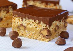 Triple Peanut Butter Krispie Treats with Peanut Butter Fudge and Peanut Butter Ganache @Kim Kelly