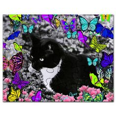 Freckles in Butterflies II Puzzle #sold #tux #cat
