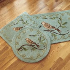 Songbird Hooked Scatter Rug from Ballard Designs. I have a pillow in this design. Love it