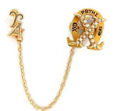 Antique 14k Rho Beta Tau Eta Sigma Sorority Pin Badge with attach Upsilon Alpha Chapter Pin #RhoBeta #Upsilong #sorority