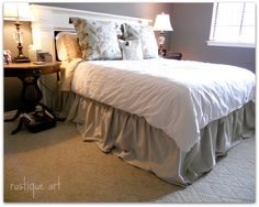 drop-cloth-bedskirt--cheap, easy!  a quee :4 x 15 ft,  fold material in half…
