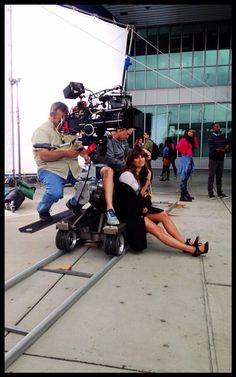Lea Michele on the Glee set