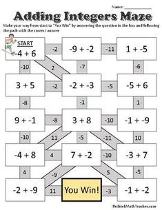 Maze worksheets for Adding Integers, Subtracting Integers, Multiplying and Dividing Integers, and One Step Equations. Addition Of Integers, Adding And Subtracting Integers, Math Addition, Addition And Subtraction, First Grade Math Worksheets, 2nd Grade Math, Subtracting Integers Worksheet, Subtraction Of Integers, Math Reference Sheet