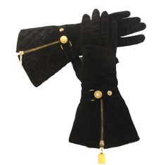 Chanel Black Quilted Suede Elbow Length Gloves, Circa 1990