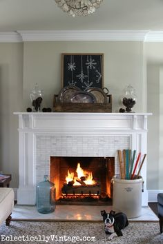 Love the simplicity of this vintage rustic winter mantel! eclecticallyvintage.com bHome.us