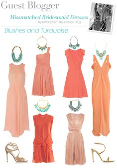 How to successfully pair mismatched bridesmaid dresses! #aislestyle #somethingturquoise #bridesmaids Blush coral bridesmaid dresses with turquoise necklaces!